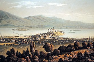 Obersee (Zürichsee) - The Seedamm area at Rapperswil and the lake bridge towards Hurden in the middle, Zürichsee and the Lützelau and Ufenau islands to the left, Obersee to the right. 1835 painting by an unknown artist as seen from a location on the Meienberg hill between Jona and Rapperswil.