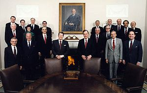 Vernon A. Walters - Walters in the Reagan Cabinet 1989 as U.S. Ambassador to the United Nations, back row, third from right