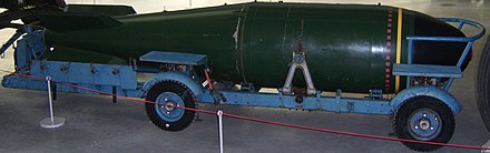 A Red Beard casing at RAF Cosford museum in 2007, shown without the 'drop' harness, and on the regular dolly