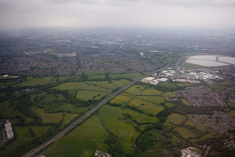Reddish vale from the air