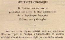 Reglement Organique of the Sandjak of Alexandretta, within the State of Syria, 14 May 1930.png