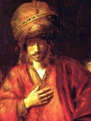 Rembrandt - Haman Recognizes his Fate - detail 01