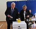 Reuven Rivlin and his wife voting on the municipal elections in Israel, Jerusalem, October 2018 (8693).jpg