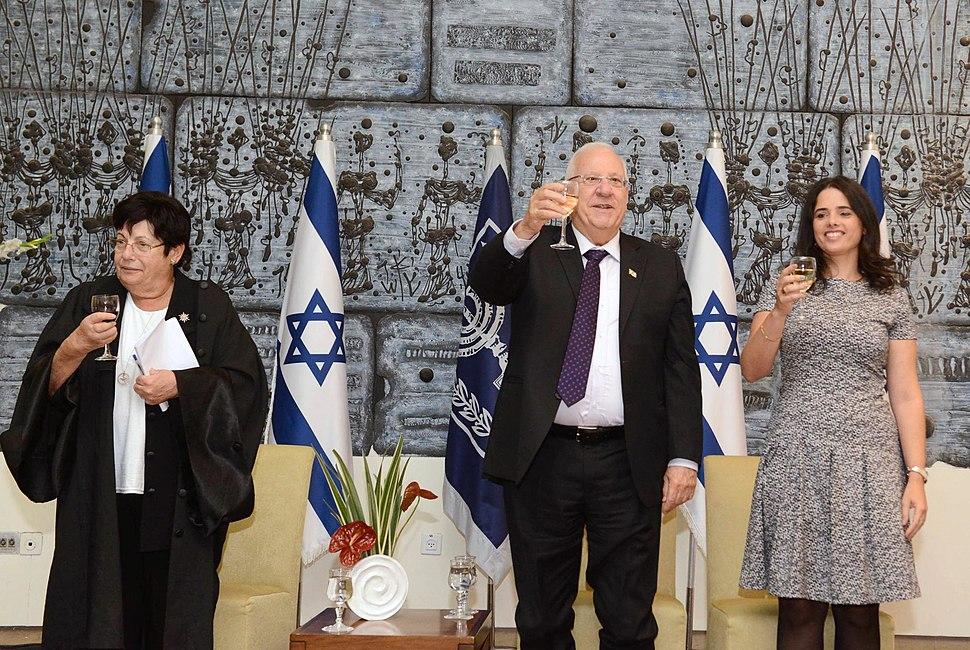 Reuven Rivlin with Miriam Naor and Ayelet Shaked