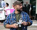 Rex Wockner at Eve of Justice demonstration.jpg