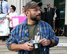 Rex Wockner at Eve of Justice demonstration.jpg