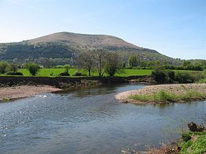 River Usk - The River Usk near Abergavenny with the Blorenge in the background