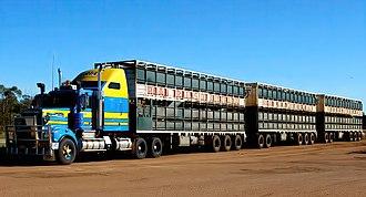 Road train - A three-trailer road train in Australia
