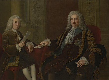 Walpole with his secretary, Henry Bilson Legge Robert Walpole, 1st Earl of Orford with Henry Bilson-Legge, by Stephen Slaughter.jpg