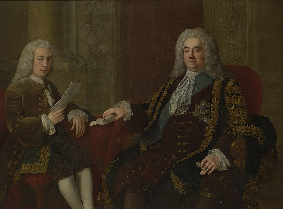 Robert Walpole, 1st Earl of Orford with Henry Bilson-Legge, by Stephen Slaughter
