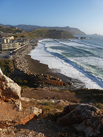 Rockaway Beach, Pacifica, California - Rockaway Beach photographed from the north, at the quarry. Calera Creek is visible.