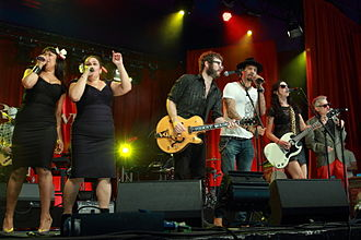 RocKwiz - Finale of Rockwiz Live at Byron Bay Bluesfest, April 2014. L to R - Linda Bull, Vika Bull, Henry Wagons, Michael Franti, Adalita, Robert Susz.