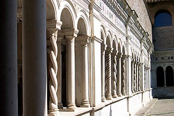 Solomonic columns and other fanciful variants in the cloister of St John Lateran, Rome, early 13th century
