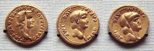 Roman gold coins excavated in Pudukottai India one coin of Caligula 31 41 and two coins of Nero 54 68