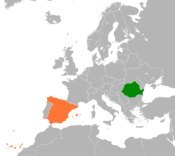 Map indicating locations of Romania and Spain