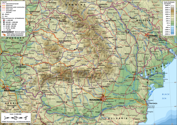 Topographic map of Romania Romania general map.png