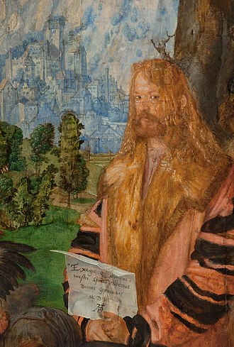 Feast of the Rosary - Detail of Dürer's selfportrait.