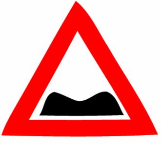 Road signs in Israel - Image: Rough road (Israel road sign)
