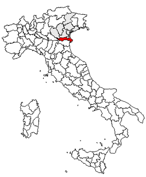 Polesine - This map highlights the location of what is nowadays Polesine in Italy.