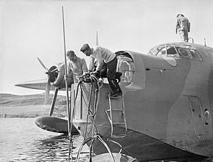 Short Sunderland - A mooring compartment was situated in the nose of the Sunderland, containing anchor, winch, boat-hook and ladder. The front turret was designed to slide back, enabling the crew to secure the aircraft to a buoy, as demonstrated here.