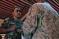 Royal Jordanian Army Maj. Abdul Kareem Al-Smairat, left, the supply and equipment officer with the 91st Armored Brigade, Royal Jordanian Armed Forces, listens as U.S. Marine Corps Maj. Johnny Garza 130609-M-UV027-079.jpg