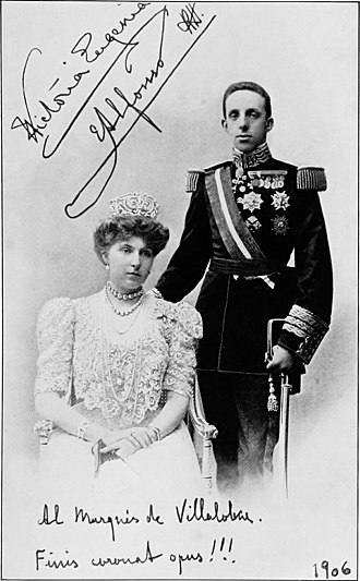 Morral affair - Wedding portrait of Alfonso XIII and Victoria Eugenie, 1906