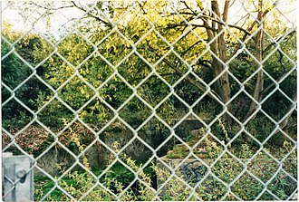 Acton–Northolt line - The abandoned grey concrete stairwell to the London side platform at the old Ruislip Gardens station. It is in the bushes, behind the tree and above the former station's culvert drain (the grey concrete structure). Until recently the entrance remained in situ at platform level.