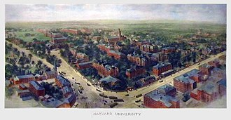 Harvard University - Richard Rummell's 1906 watercolor landscape view, facing northeast.