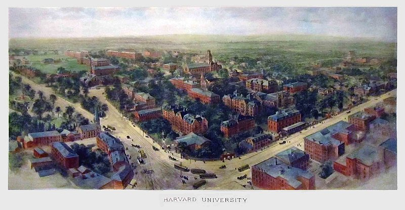 Richard Rummell's 1906 watercolor landscape view of Harvard University, facing northeast. Whitehead taught at Harvard from 1924 to 1937. Rummell, Richard Harvard University.jpg