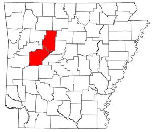Russellville, Arkansas micropolitan area - Location of the Russellville Micropolitan Statistical Area in Arkansas