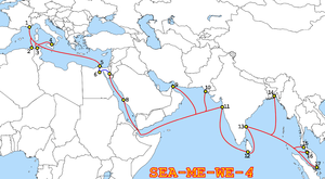 The route of the submarine cable (red); the bl...