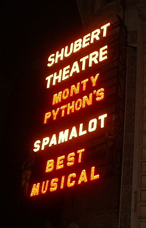 Spamalot - A sign at the Shubert Theatre advertising the show's Best Musical award.