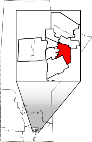 Saint Boniface—Saint Vital - Saint Boniface—Saint Vital in relation to other Manitoba federal electoral districts as of the 2013 Representation Order. Dotted line shows Winnipeg city limits.
