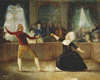 Carlton House - Fencing Match between Chevalier de Saint-Georges and 'La chevalière D'Eon' on April 9, 1787 in Carlton House, painting by Charles Jean Robineau