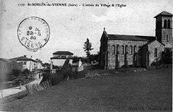 Saint-Sorlin-de-Vienne, l'entrée du village et l'église, 1909, p229 de L'Isère les 533 communes - cliché C D, Blanchard éditeur, Vienne.jpg