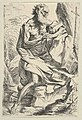 Saint Jerome kneeling on a rock in front of a cross and an open book facing right, after Reni MET DP838598.jpg