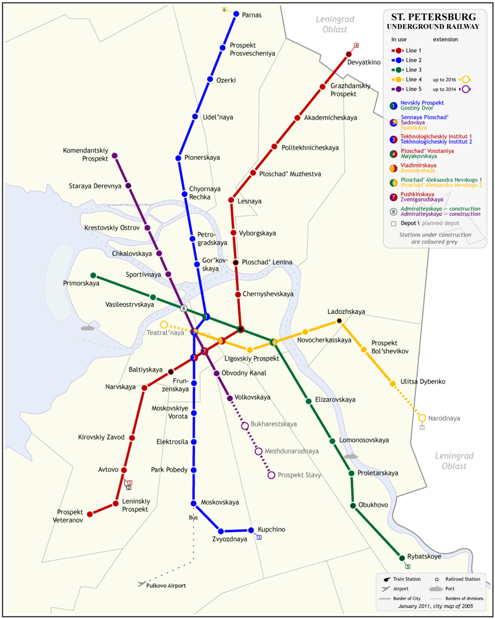 Saint Petersburg Underground Railway Map