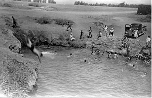 Sakhnin - Members of the Palmach swimming in the pool that used to supply Sakhnin with water. 1947