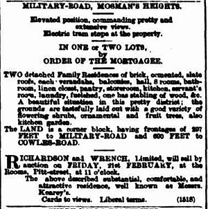 Boronia House, Mosman, Sydney - Advertisement for the sale of Boronia and Telopea in 1896.