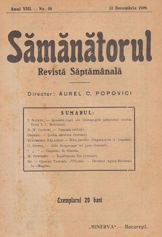 Sămănătorul - Front page of Sămănătorul under Aurel Popovici's direction, December 1909 issue