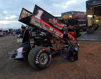 Sammy Swindell - Sammy's 2013 car in the pits at the Beaver Dam Raceway.