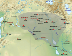 Map showing the approximate extent of the Upper Mesopotamian Empire at the death of Shamshi-Adad I c. 1721 BC.