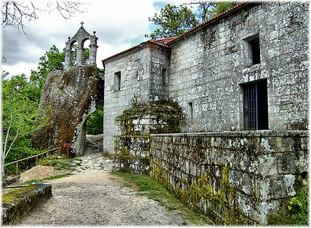 Monastery of San Pedro de Rocas, Galicia, founded in 575 and inhabited until the early 20th century San Pedro de Rocas (Esgos, Galiza).jpg