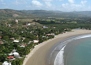 San Juan del Sur - The beach at San Juan del Sur taken from the Christ of the Mercy.