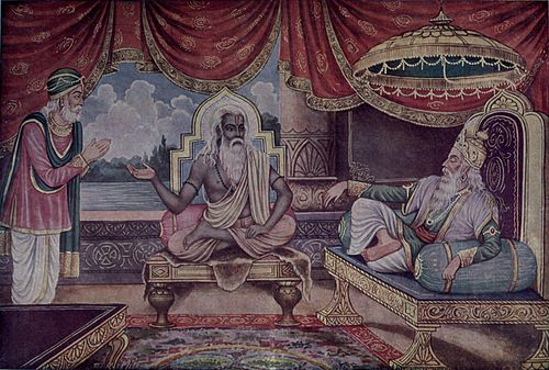 Vyasa, at middle of the picture Sanjayas's Foreknowledge.jpg