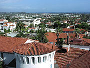 Santa Barbara, looking towards the harbor from the top of the County Courthouse, showing the distinctive red-tiled roofs