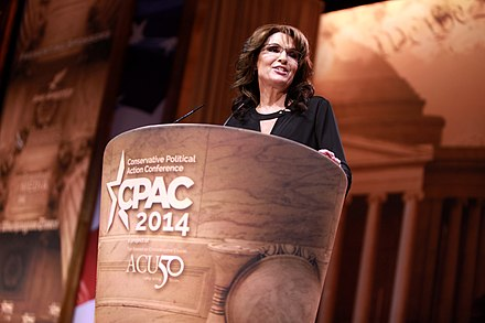 Palin speaking at the 2014 Conservative Political Action Conference (CPAC) in National Harbor, Maryland Sarah Palin by Gage Skidmore 3.jpg