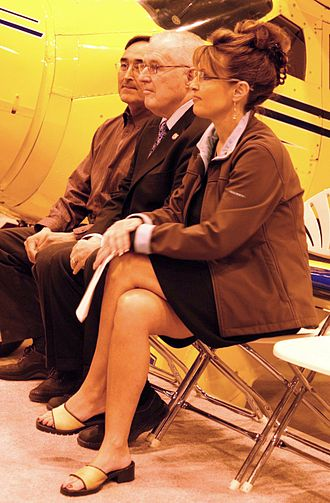 """Ryan Air Services - Company president Wilfred """"Boyuck"""" Ryan (left) with Alaska Department of Transportation & Public Facilities Commissioner Leo von Scheben and Alaska governor Sarah Palin in May 2008."""