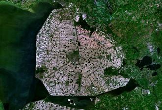 Polder - Satellite image of Noordoostpolder, Netherlands (595.41 km²)