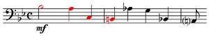 Musical cryptogram - Image: Schumann, Sechs Fugen über den Namen B A C H, op. 60, no. 4, mm. 1 3